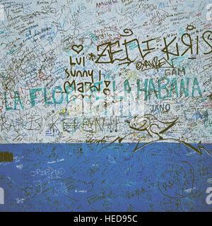Aussenwand mit Unterschriften und Widmungen, La Bodeguita del Medio, Havanna - Stock Photo