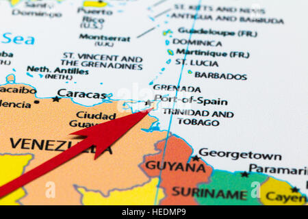 Close up of map of Trinidad and Tobago in the Caribbean Stock Photo