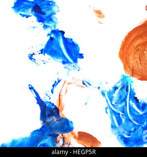 Blue brown gouache background. Design elements. Painting. Grunge blue brown abstract colorful background on watercolor - Stock Photo