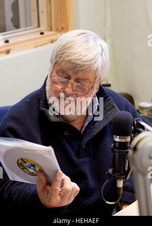 Drummer and publican John Halsey at local radio station Cambridge 105 - Stock Photo