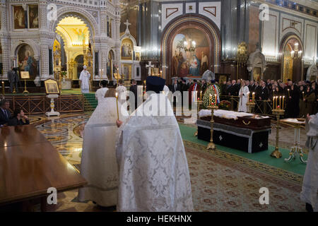 Moscow, Russia. 22nd Dec, 2016. A religious service for slain Russian ambassador to Turkey, Andrei Karlov, is conducted - Stock Photo