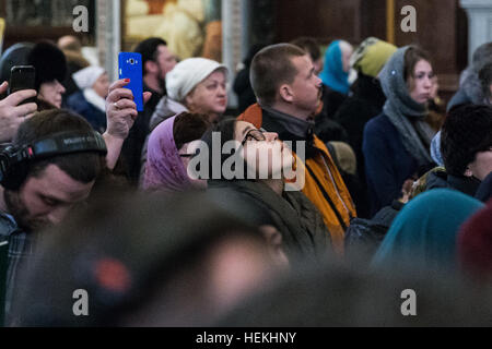 Moscow, Russia. 22nd Dec, 2016. People attend the funeral of slain Russian Ambassador to Turkey Andrei Karlov at - Stock Photo