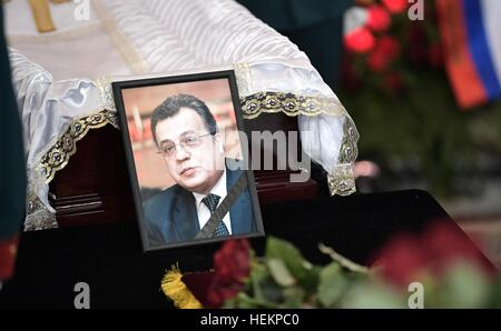 Moscow, Russia. 22nd Dec, 2016. A photo of Russian Ambassador to Turkey Andrei Karlov during the memorial service - Stock Photo