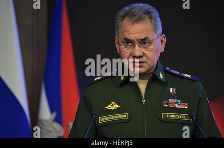 Moscow, Russia. 22nd Dec, 2016. Russian Defense Minister Sergei Shoigu speaks during the annual meeting of the Defense - Stock Photo