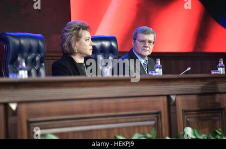 Moscow, Russia. 22nd Dec, 2016. Russian Federation Council Speaker Valentina Matviyenko and Prosecutor General Yury - Stock Photo
