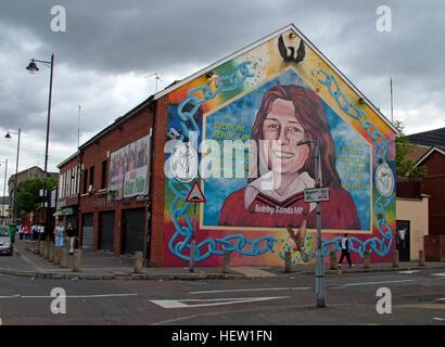 Belfast falls rd republican sinn fein souvenir shop stock for Bobby sands mural falls road