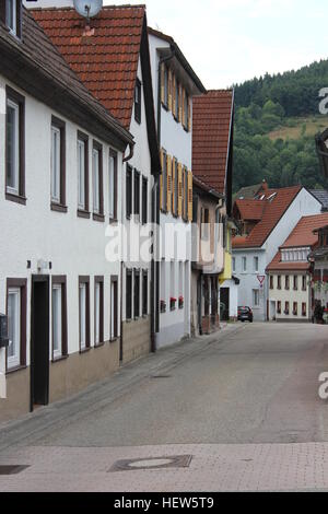 A street scene in the Black Forest town of Hornberg, Germany - Stock Photo