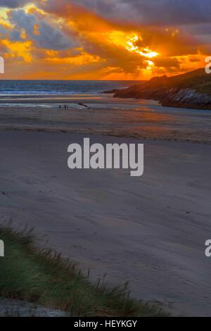 a river estuary and beach on Crantock Beach in Newquay, Cornwall, UK - Stock Photo