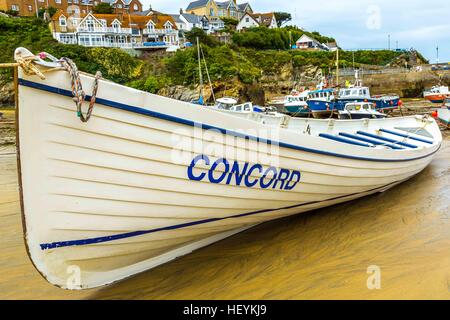 Boats in the picturesque harbour of Newquay in Cornwall, UK - Stock Photo