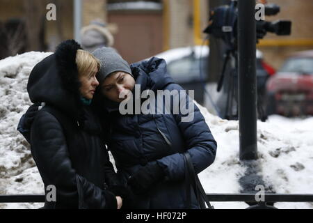 Moscow, Russia 25th Dec, 2016 Two women seen outside the Alexandrov Hall, a rehearsal room of the Alexandrov Ensemble, - Stock Photo