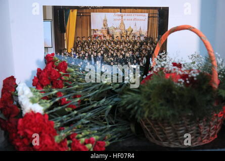 Moscow, Russia 25th Dec, 2016. Flowers at the Alexandrov Hall, a rehearsal room of the Alexandrov Ensemble, in memory - Stock Photo