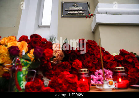 Moscow, Russia. 25th December, 2016. Flowers at the Alexandrov Hall, a rehearsal room of the Alexandrov Ensemble, - Stock Photo