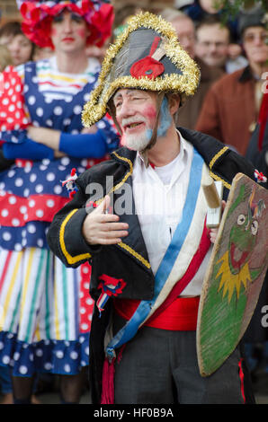 Wantage, UK. 26 Dec 2016. The character of Beau Slasher, a Napoleonic officer, played in a traditional Mummers Folk - Stock Photo