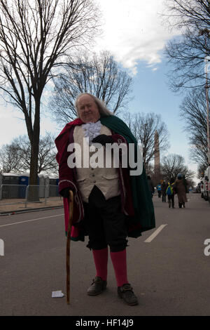 Mickey Scroggins goes 'Wherever Benjamin Franklin is needed,' says the self-employed historic interpreter of Benjamin - Stock Photo
