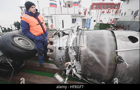 Sochi, Russia. 29th Dec, 2016. Pictured in this screen grab is wreckage of the Tupolev Tu-154 plane, retrieved from - Stock Photo