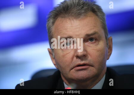 Scow, Russia. 29th Dec, 2016. Russia's First Deputy Healthcare Minister Igor Kagramanyan attends a press conference - Stock Photo