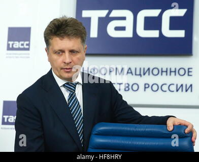 Moscow, Russia. 29th Dec, 2016. Russia's Transport Minister Maxim Sokolov arrives for a press conference to sum - Stock Photo