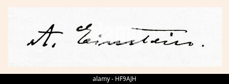 Signature of Albert Einstein, 1879 –  1955.  German-born theoretical physicist.  From Meyers Lexicon, published - Stock Photo