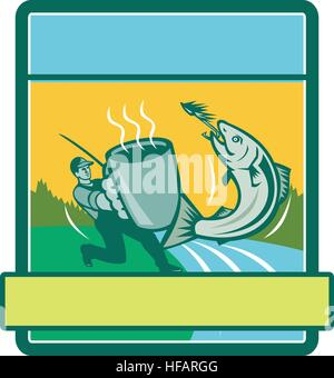 Illustration of a fly fisherman fishing holding mug catching salmon viewed from the side set inside rectangle shape - Stock Photo