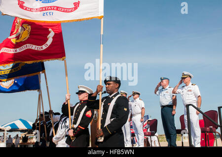 U.S. Service members present flags during a ceremony commemorating the 70th anniversary of D-Day at Joint Expeditionary - Stock Photo