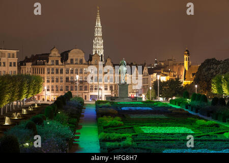 Spire of the Brussels City Hall seen from the Mont des Arts in Brussels, Belgium. - Stock Photo