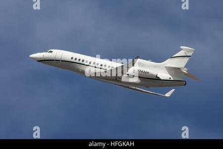 Dassault Falcon 7X taking off from El Prat Airport in Barcelona, Spain. - Stock Photo