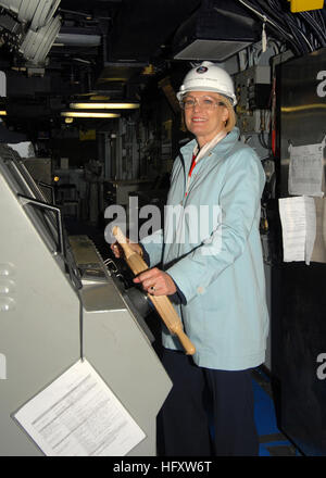 091113-N-8560K-083NEWPORT NEWS, Va. (Nov. 13, 2009) Susan Ford Bales, daughter of President Gerald R. Ford, stands - Stock Photo