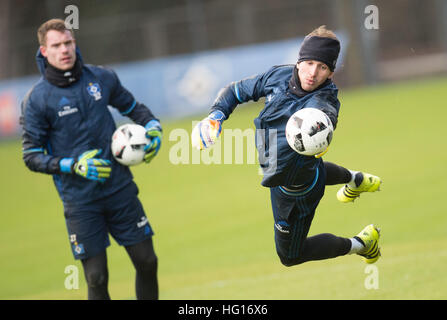 Hamburg, Germany. 4th Jan, 2017. Goalkeepers Rene Adler (r) and Christian Mathenia pictured during a Hamburg SV - Stock Photo