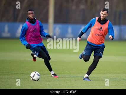 Hamburg, Germany. 4th Jan, 2017. HSV new signing Mergim Mavraj (r) and Gideon Jung pictured during a training session - Stock Photo