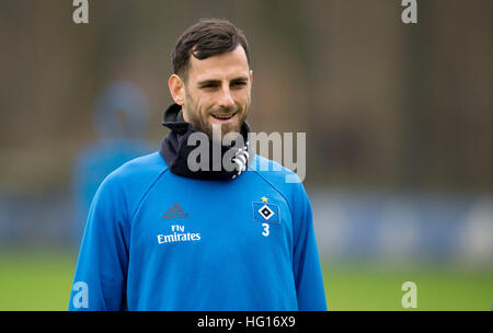 Hamburg, Germany. 4th Jan, 2017. New signing Mergim Mavraj pictured during a Hamburg SV training session in Hamburg, - Stock Photo