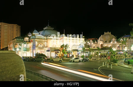 The famous Cafe de Paris in Casino Square is the best place to spend romantic evening in Monte Carlo - Stock Photo