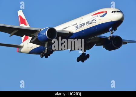 British Airways Boeing 777-200ER G-YMMH landing at London Heathrow Airport, UK - Stock Photo