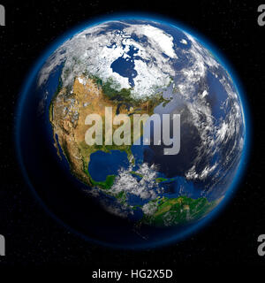 Earth viewed from space showing North America. Realistic digital illustration including relief map hill shading - Stock Photo
