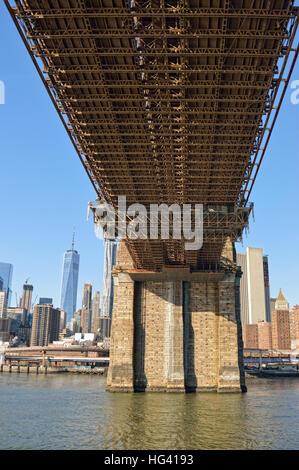 Under the Brooklyn Bridge. - Stock Photo