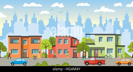 City landscape with modern houses - Stockfoto