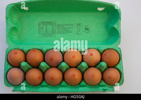 Close up Twelve British brown free range eggs in green egg box RSPCA Assured healthy eating white background - Stock Photo