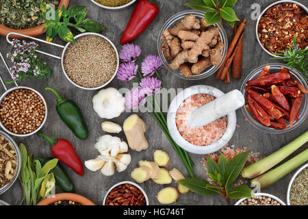 Fresh and dried herb and spice seasoning in bowls, scoops, mortar with pestle and loose, high in vitamins and antioxidants. - Stock Photo