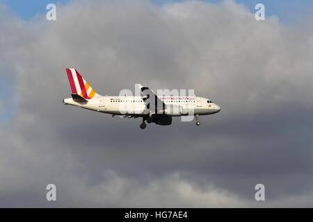 Germanwings Airbus A319 D-AKNH  landing at London Heathrow Airport, UK - Stock Photo