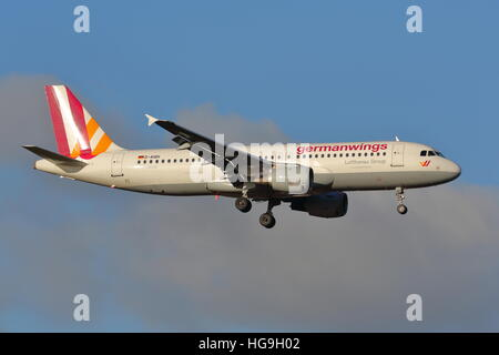 Germanwings Airbus A320 D-AIQH landing at London Heathrow Airport, UK - Stock Photo