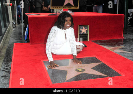 Hollywood, California, USA. 5th Jan, 2017. Viola Davis attends the ceremony to honour her with a star on The Hollywood - Stock Photo