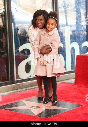 Hollywood, California, USA. 5th Jan, 2017. Viola Davis, Genesis Tennon. Viola Davis honoured with star on The Hollywood - Stock Photo