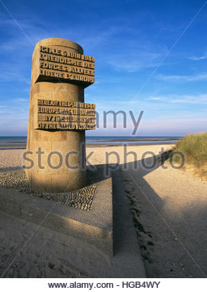 Monument honors heroism of Allied Forces during D-Day invasion, Normandy, June 6, 1944, Juno Beach, Courseulles - Stock Photo