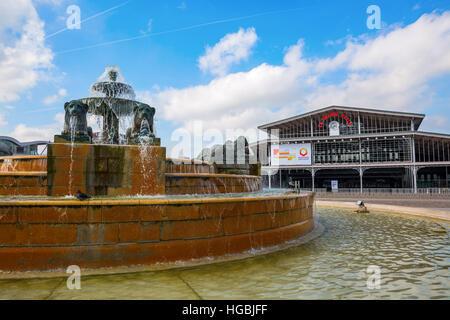 fountain in the Parc de la Villette in Paris, France - Stock Photo