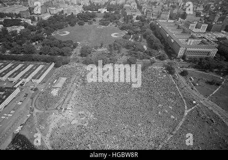 August 28, 1963 - Aerial view, of the March on Washington in Washington, D.C. - Stock Photo