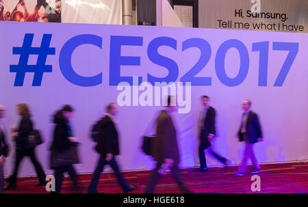 Las Vegas, US. 06th Jan, 2017. Visitors can be seen at the CES technology trade fair in Las Vegas, US, 06 January - Stock Photo