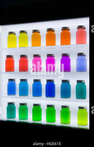 Las Vegas, US. 06th Jan, 2017. Coloured bottles that show off the performance of screens from South Korean manufacturer - Stock Photo
