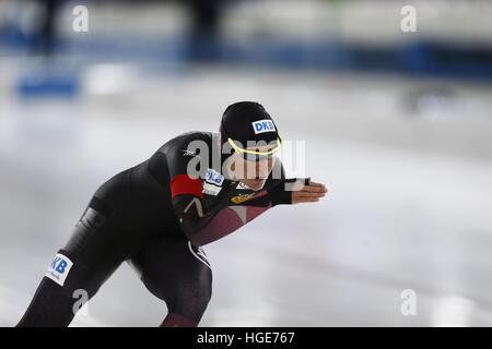 German speed skater Gabriele Hirschbichler in action during women's 1000m sprint event at the Speed Skating European - Stock Photo