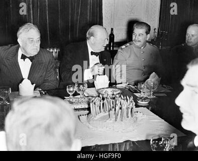 30th November 1943.Teheran.Churchill celebrates his 69th birthday with President Franklin D Roosevelt and Marshall - Stock Photo
