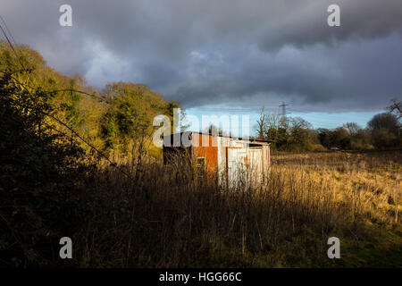 tin corrugated iron shed hut in field - Stock Photo