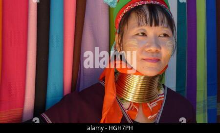 Chiang Mai Karen hill tribe villager portrait - Stock Photo
